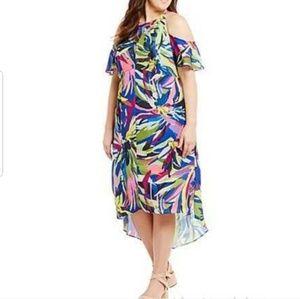 2x multi color high low cold shoulder dress